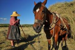 Femme et mule rurales Photo stock