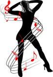 Femme et musique Photo libre de droits