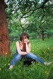 Femme et netbook Photographie stock