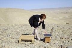 Femme et ordinateur portatif Images libres de droits