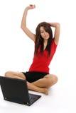 Femme et ordinateur portatif Image libre de droits