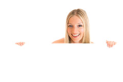 Femme et panneau blanc photo stock