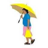 Femme et parapluie illustration stock