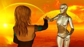 Femme et robot à la technologie d'intelligence artificielle extraterrestre de planète illustration de vecteur