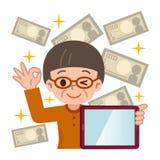 Femme et tablette supérieures réussies à l'investissement illustration de vecteur