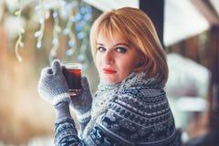 Femme et thé Photos stock
