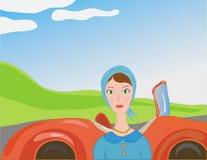 Femme et véhicule dans le rétro type Photo stock