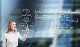 Femme et web design sur le glassboard photographie stock