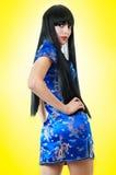 Femme européen dans la robe de Chinois Photo stock
