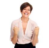 Femme excited heureuse d'affaires Photos libres de droits