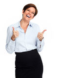 Femme excited heureuse d'affaires Image stock