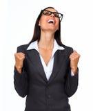 Femme excited heureuse d'affaires Photographie stock libre de droits