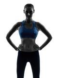 Femme exerçant la silhouette de portrait de forme physique photo libre de droits
