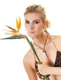 femme exotique de fleur photographie stock libre de droits