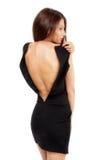 Femme expressif dans la robe élégante photo stock