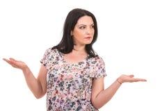Femme expressive avec les mains ouvertes Photographie stock