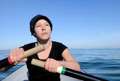femme extérieure de lac d'activité Photo stock