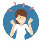 Femme fâché Mauvaises émotion et expression sur le visage illustration stock