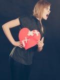Femme fâchée avec le coeur brisé Images libres de droits