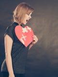 Femme fâchée avec le coeur brisé Photo stock