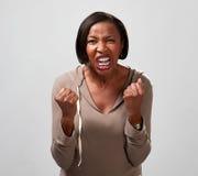Femme fâchée d'afro-américain image stock