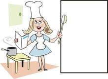 Femme faisant cuire le dessin animé Image stock