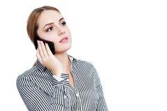 Femme faisant l'appel photo stock