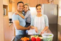 femme faisant la famille de salade Image libre de droits