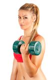 Femme faisant la forme physique avec des poids Photographie stock libre de droits