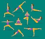 Femme faisant le yoga Asanas de yoga réglés Image libre de droits