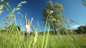 Femme faisant le yoga au milieu d'un champ de haute herbe clips vidéos