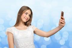Femme faisant un selfie Images libres de droits