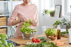 Femme faisant une salade image stock