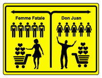 Femme Fatale and Don Juan. Concept sign of a female and a male heart breaker vector illustration