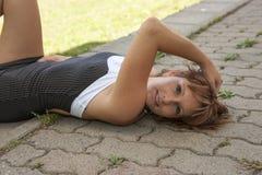 Femme fatale outdoors stock photos