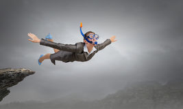 Femme flottant en ciel Media mélangé Photo libre de droits