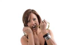 femme folle de dents Image stock