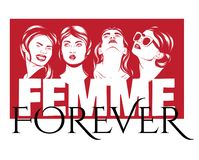 Femme forever. Vector poster with hand drawn illustration of emotional women . Template for card, poster. banner, print for t-shirt, pin, badge, patch stock illustration