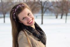 Femme franche de portrait d'hiver Photographie stock libre de droits