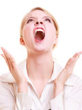 Femme furieuse de femme d'affaires fâchée criant Photos libres de droits