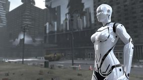 Femme futuriste de robot sur Time Square apocalyptique New York Manhattan rendu 3d illustration stock