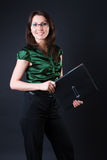 Femme gaie d'affaires Photo stock