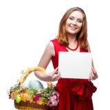 Femme gaie de Pâques Photographie stock
