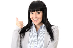 Femme gaie heureuse positive avec des pouces souriant  Images stock