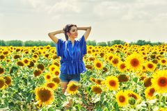 Femme gaie sur une promenade d'été dans le domaine avec des tournesols photographie stock libre de droits