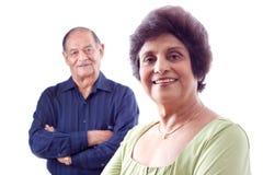Femme âgée d'Indien est avec son mari Images libres de droits