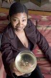 Femme grillant avec la glace de vin Photos libres de droits
