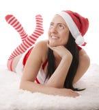 Femme habillée comme Santa image libre de droits