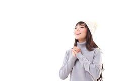 Femme heureuse appréciant l'hiver Photographie stock