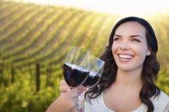 Femme heureuse appréciant le verre de vin dans le vignoble avec des amis Photo libre de droits